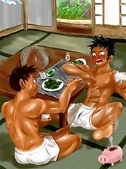 Hot jerking yaoi boys and famous anime characters pleasuring each other!